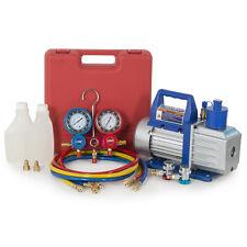 HVAC 1/2HP 5CFM Vacuum Pump Dual Gauge A/C Diagnostic Tester Manifold R134a