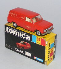 TOMICA TOMY JAPAN #64 TOYOTA HILUX MAIL VAN VINTAGE 1970s EARLY OLD WHEELS BOXED