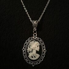 "Skeleton Lady Cameo Pendant Day Of The Dead Necklace 24"" Steampunk Skull Silver"