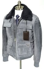 New BRIONI Gray Suede Leather Shearling Fur Bomber Coat Jacket 50 M L NWT $9475