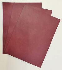 LEATHER PIECES OF COWHIDE 3 @ 20CM X 15CM CLARET 1 mm THICK PULL-UP ANTIQUE LOOK
