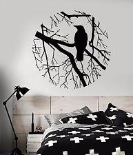 Vinyl Wall Decal Bird Branch Crow Gothic Style Bedroom Design Stickers (801ig)