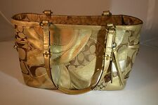 COACH SIGNATURE GALLERY PATCHWORK TOTE BAG & GOLD METALLIC LEATHER MOSIAC #12740