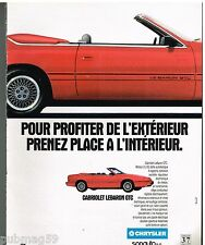 Publicité Advertising 1992 Chrysler Cabriolet Lebaron GTC