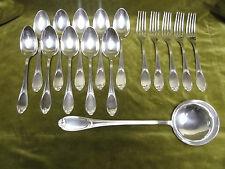 Partie de ménagère métal argenté Ercuis pompadour (dinner forks, soup spoons 18p