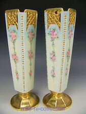 PAIR OF BAVARIA HAND PAINTED ROSES & JEWELS VASES