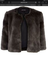 River Island Grey cropped faux fur coat UK10 BNWT