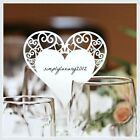 140*Luxury Heart shape place cards shimmer WHITE color wedding party event P102
