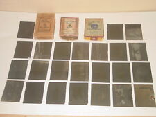 VINTAGE ANTIQUE 1915-1921 GLASS PHOTO NEGATIVES DRY PLATES WITH BOXES LOT OF 39
