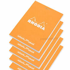 Set of 5 Rhodia Orange A7+ dotPad Dot Matrix Grid 3D Paper Drawing Notepads Pads