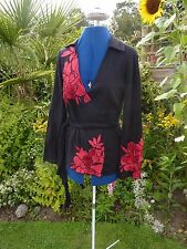 MONSOON SIZE 10 BLACK VISCOSE/COTTON WRAPAROUND SHIRT WITH RED FLORAL EMBROIDERY