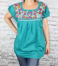 ELASTIC PEASANT PUEBLA HAND EMBROIDERED MEXICAN TUNIC BLOUSE TOP LARGE