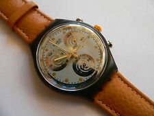 1992 SWATCH  Watch  Sirio  Chrono  Chronograh Leather Band SCM101
