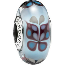Genuine Pandora Blue Butterfly Silver Murano Glass Charm - 791622