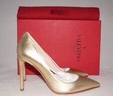 NIB VALENTINO Gold Metallic Leather Point-Toe Pump Heel Studded Shoe 6 US 36 EU