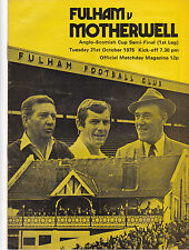 FULHAM V MOTHERWELL ANGO-SCOTTISH CUP SEMI-FINAL 21/10/75
