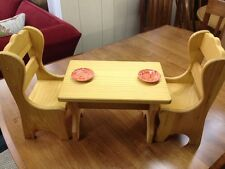 Large Wooden Table & Chair Dining Set For American Girl Dolls