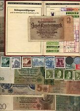 NAZI GERMANY BANKNOTE, COIN, DOCUMENT AND STAMP SET   * L *