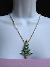"NEW WOMEN GOLD FASHION NECKLACE BIG CHRISTMAS TREE PENDANT RHINESTONES 13"" DROP"