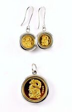 UNC Chinese Dragon .999 Gold Coins in Sterling Silver Earrings Pendant Bezel Set