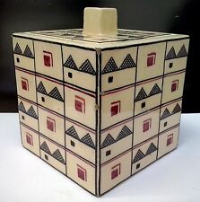 French Cubist Robert LALLEMANT Pottery Box RARE Museum Quality, ca 1920