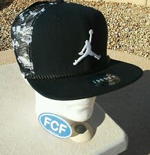 Nike Air Jordan Cloud Camo Snapback Trucker Hat Cap NEW Jumpman Black White Fly