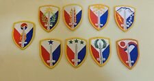 ARMY PATCH,SSI, set of 9 SUPPORT BRIGADE,401,402,403,404,406,407,408,409,411