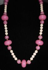 VTG Marbled Pink & Ivory Colored Plastic Celluloid Large Beaded Necklace