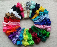 "25lot 3.5"" Baby Girl Boutique Hair Bows Clip Grosgrain Ribbon crochet headband A"
