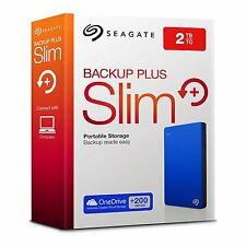 "Seagate Backup Plus Slim 2TB USB 3.0 Portable 2.5"" External HD for PC & Mac"