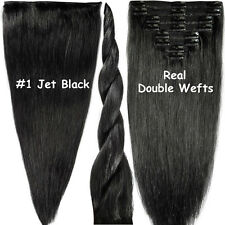 Real Thick 160g+ Clip In Remy Human Hair Extensions Full Head Double Weft E580