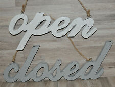 #10246 Ladenschild 2er Set Türschild Türhänger Open Closed Holz NEU Shabby