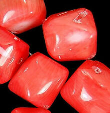 12x13mm OrangeRed Coral Nugget Beads 13pcs