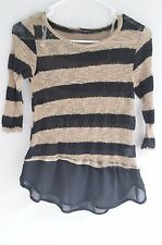 WOMENS TOP MATERNITY ANNA BELLE BROWN BLACK SMALL XS STRIPE RUFFLE SHEER STRETCH