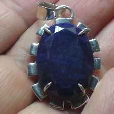 BIG! NATURAL 30.20 CT BLUE SAPPHIRE PENDANT,NECKLACE 925 STERLING SILVER.