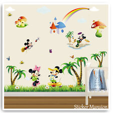 Mickey Mouse Wall Stickers Animal Jungle Baby Kids Nursery Bedroom Decals Art