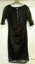 BNWT blue & black sequined embroidered evening dress, M&Co Boutique, size 10