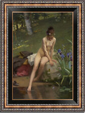 "Old Master-Art Antique Oil Painting nude girl on canvas 24""X36"""