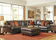 BASTIA - Large Traditional Bonded Leather Living Room Sofa Couch Sectional Set