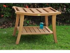 "22.5"" TEAK WOOD BATHROOM SHOWER SPA STOOL BENCH SHELF GARDEN PATIO OUTDOOR ELITE"