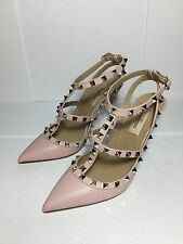 =SO PRETTY= VALENTINO Water Rose Pale Pink Rockstud Cage Leather Party Heels US6