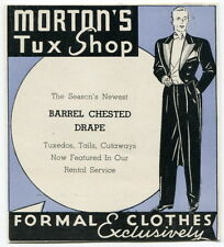 "Vintage Brochure: ""MORTON'S TUX SHOP"" - Men's ""Formal Clothes Exclusively"""