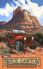 Retro Poster-Bryce Canyon NP-Red Jeep (PAL-1999)