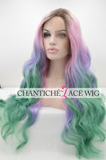 Ombre Pink Blue Green Heat Resistant Synthetic Hair Lace Front Wig For Women 24""