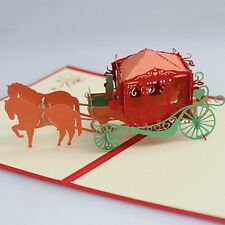 3D Origami Pop-Up Cards for marriage,birthday, child-- Carriage buy 3 get 1 free