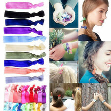 30Pc Lady Candy Color Elastic Ponytail Holder Ribbon Hair Ties/Knotted Hairbands