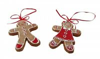 Gisela Graham Gingerbread Boy and Girl Decoration - Chritsmas Tree Decorations
