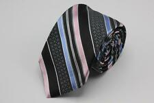 NWT IKE BEHAR Woven Tie. Black w Pink & Blue Stripes.. Hand Tailored in USA.