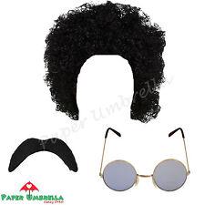 CABALLEROS Hippy Años 70 80 AFRO NEGRO Bigote Gafas 70 80 Stag vestido