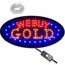 Bright Oval We Buy Gold LED Open Sign Pawn Shop Jewelry Store Silver Cash Karat